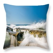 Incoming  La Jolla Rock Formations Throw Pillow