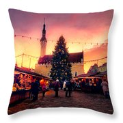 Incredible Christmas Market In Tallinn, Estonia Throw Pillow