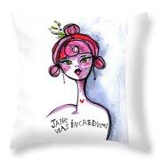 Incredulous Jane Throw Pillow