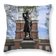Independence Hall And Commodore Barry Throw Pillow