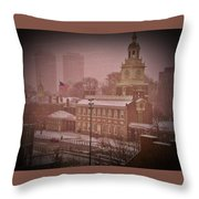 Independence Hall In The Snow Throw Pillow