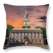 Independence Hall Philadelphia Sunset Throw Pillow