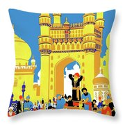 India, Castle, People, Street Throw Pillow