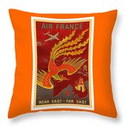 India, China And Japan, The Bird Of Paradise Countries - Air France Vintage Airline Travel Poster Throw Pillow