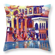 India, Indian State Railway Poster, Muttra Throw Pillow