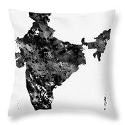 Map Of India-black Throw Pillow