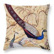 India: Peafowl, C1610 Throw Pillow