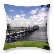Indialantic Pier On The Indian River Lagoon In Central Florida Throw Pillow