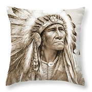 Indian Chief With Headdress Throw Pillow