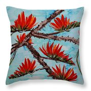 Indian Coral Tree Throw Pillow