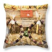 Indian Corn Wreaths Throw Pillow