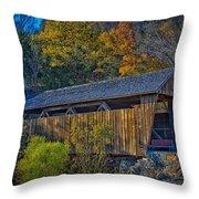 Indian Creek Covered Bridge In Fall Throw Pillow