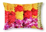 Indian Flower Garland Throw Pillow