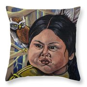 Indian Girl In The Woods Throw Pillow