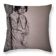 Indian Girl Throw Pillow