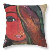 Indian Girl With Nose Ring Throw Pillow