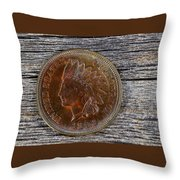 Indian Head Cent In Uncirculated Condition On Old Wood  Throw Pillow