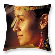 Indian Maiden Throw Pillow