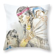 Indian Mother And Children Throw Pillow