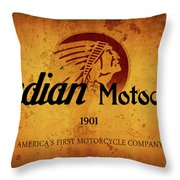 Indian Motocycle 1901 - America's First Motorcycle Company Throw Pillow