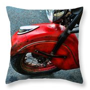 Indian Motorcycle Fender In Red Throw Pillow