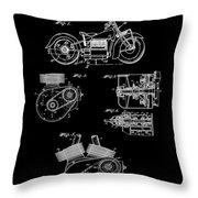 Indian Motorcycle Patent 1943 Black Throw Pillow