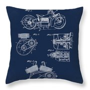 Indian Motorcycle Patent 1943 Blue Throw Pillow