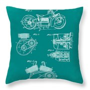Indian Motorcycle Patent 1943 Green Throw Pillow
