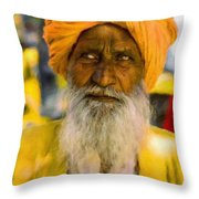 Indian Old Man Throw Pillow