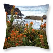 Indian Paintbrush At Point Lobos Throw Pillow