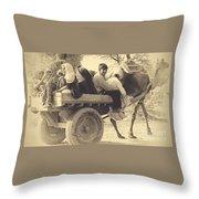 Indian People In Camel Cart- Sepia Throw Pillow
