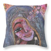 Indian Rajasthani Woman With Colorful Background  Throw Pillow