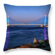 Indian River Inlet Bridge Twilight Throw Pillow