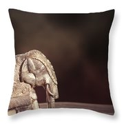 Indian Silver Elephant Throw Pillow