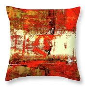Indian Summer - Red Contemporary Abstract Throw Pillow
