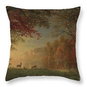 Indian Sunset Deer By A Lake Throw Pillow
