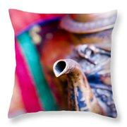 Indian Tea Kettle Throw Pillow