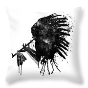 Indian With Headdress Black And White Silhouette Throw Pillow