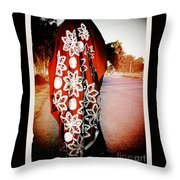 Indian Woman In Red- Vignette Throw Pillow