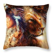 Indian Woman Wearing  Feather Headdress With Lion And Abstract Color Collage Throw Pillow
