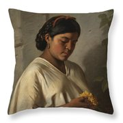 Indian Woman With Marigold Throw Pillow