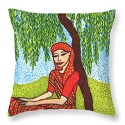 Indian Woman With Weeping Willow Throw Pillow