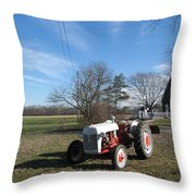 Indiana Hwy 63 South Vintage Ford Tractor Color Version Throw Pillow