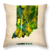 Indiana Watercolor Map Throw Pillow by Naxart Studio