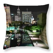 Indianapolis Canal Night View Throw Pillow