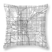 Indianapolis Indiana Usa Light Map Throw Pillow