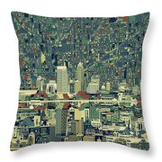 Indianapolis Skyline Abstract 3 Throw Pillow