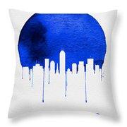 Indianapolis Skyline Blue Throw Pillow