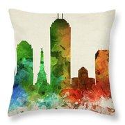 Indianapolis Skyline Panorama Usinin-pa03 Throw Pillow