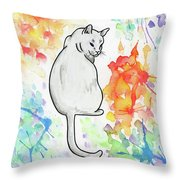 Indifferent Cat Throw Pillow